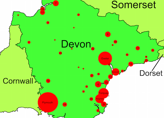 City size in Devon, England