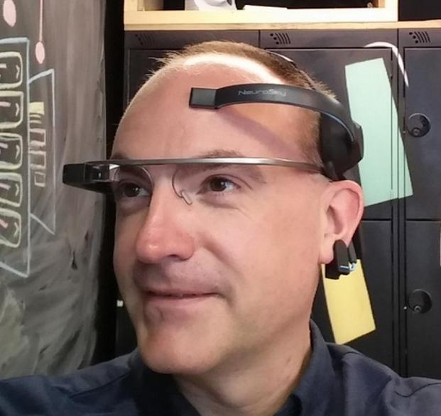 Google Glass with telekinetic headband